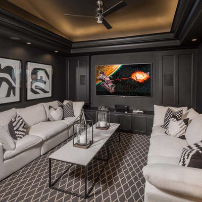 Inspiration for a transitional enclosed carpeted and multicolored floor home theater remodel in Dallas with gray walls and a wall-mounted tv