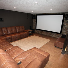 Transitional Home Theater by Red Door Renovations & desgn
