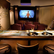Mediterranean Home Theater by Causa Design Group