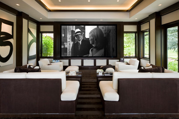 Transitional Home Theater by Charles Cunniffe Architects Aspen