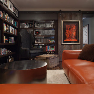 Mid-sized contemporary enclosed home theatre in San Francisco with grey walls, dark hardwood floors and brown floor.