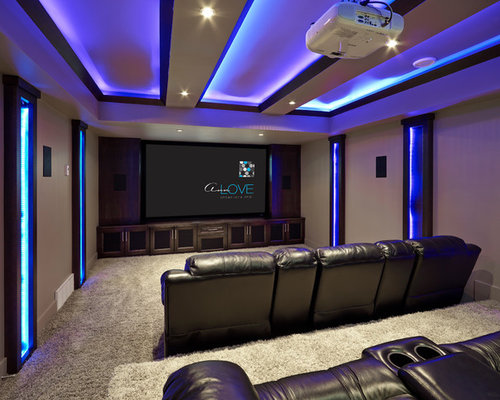 Houzz contemporary purple home theater design ideas - Sillon home cinema ...