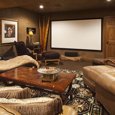 Eclectic Home Theater by DESIGNS! - Susan Hoffman Interior Designs