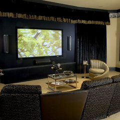 eclectic media room by Kelsie Hornby, ASID, Elegant Designs, Inc.
