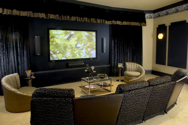Eclectic Home Theater by Kelsie Hornby, ASID, Elegant Designs, Inc.