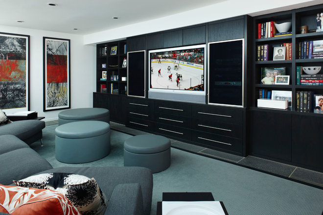 Contemporary Home Theater by Jeffrey King Interiors