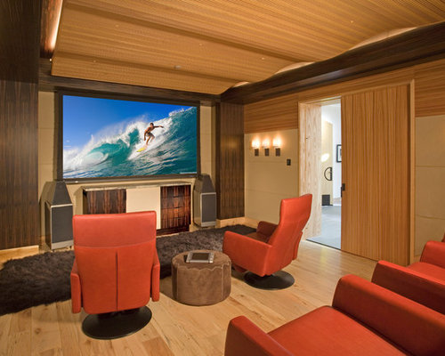 Asian Home Theater with a Projector Screen Ideas & Design Photos ...