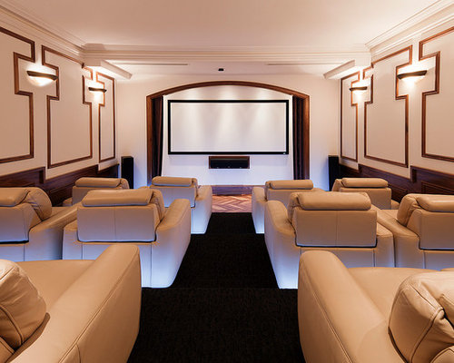 home theater floor lighting. example of a large transitional enclosed carpeted and black floor home theater design in melbourne with lighting l