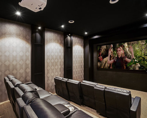 Inspiration For A Large Contemporary Home Theatre In Central Coast With  Black Walls, Carpet,