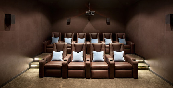 Contemporary Home Theater by Diane Bergeron Interiors