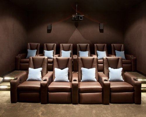 Inspiration for a contemporary beige floor home theater remodel in Melbourne with brown walls & Custom Recliners | Houzz islam-shia.org
