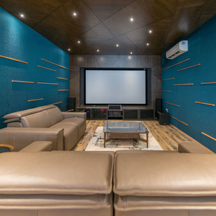 This is an example of a modern home theatre in Hyderabad.