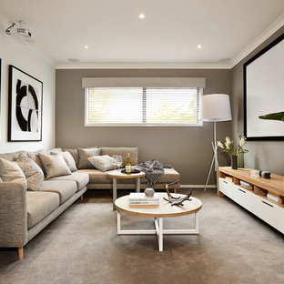 Design ideas for a contemporary enclosed home theatre in Melbourne with grey walls, carpet, a projector screen and grey floor.