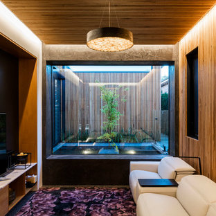 This Is An Example Of A Small Contemporary Enclosed Home Theatre In Wollongong