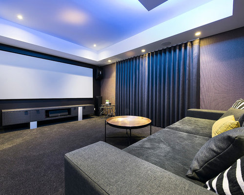 home theatre design. Inspiration For A Contemporary Enclosed Home Theatre In Perth With  Multi Coloured Walls Carpet Houzz 50 Best Contemporary Home Theatre Pictures