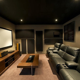 Photo Of A Small Modern Enclosed Home Theatre In Perth With Brown Walls,  Carpet And