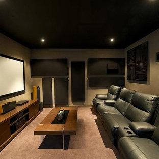 75 Beautiful Modern Home Theater Pictures & Ideas | Houzz on modern ceiling design ideas, modern japanese interior design ideas, modern garage design ideas, modern contemporary bedroom design ideas, modern curtain design ideas,