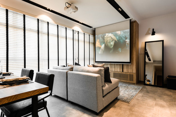 Industrial Home Theater by Mr Shopper Studio