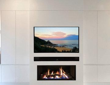 Custom Home Cinema and Fireplace