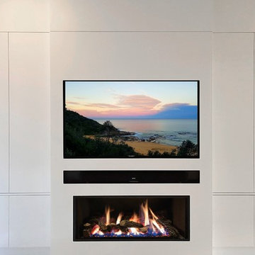 Custom Home Cinema and Fireplace