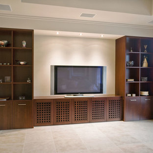 Large modern enclosed home theatre in Sydney with beige walls and travertine floors.