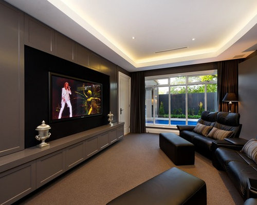 Design Ideas For A Contemporary Enclosed Home Theatre In Melbourne With Brown Walls Wall
