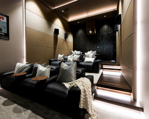 This Is An Example Of A Large Contemporary Enclosed Home Theatre In  Sunshine Coast With Beige