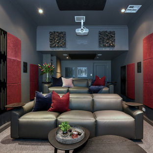 Design ideas for a contemporary home theatre in Sydney.