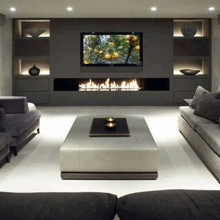 Home Theater   Large Modern Home Theater Idea In Sydney With Gray Walls And  A Wall