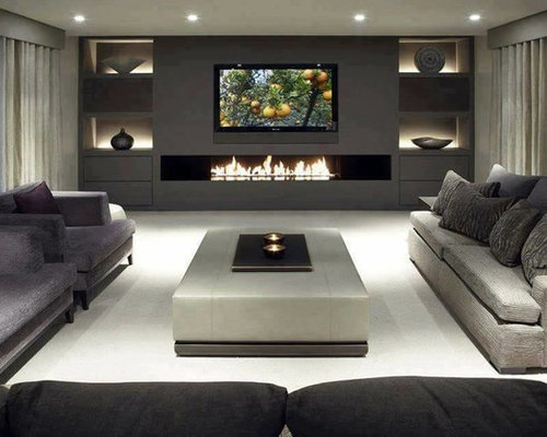 Delightful Home Theater   Large Modern Home Theater Idea In Sydney With Gray Walls And  A Wall