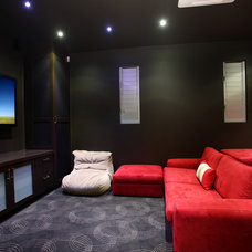 Contemporary Home Theater by SBT Designs