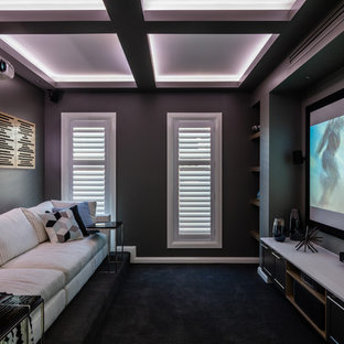 75 Beautiful Small Home Theater Pictures & Ideas | Houzz on modern home bar design, modern home library design, modern computer room design, custom home theater design, modern home kitchen design, modern home media room, luxury home theater design, home theater systems design, modern tv room design, modern luxury homes design, home movie theater design, modern home gym design, modern home office design, modern house interior design living room, modern kitchen room design, modern living room decor, modern bar room design, modern living room interior design ideas, modern living room ceiling design, modern entertainment room design,