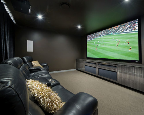 Example Of A Trendy Home Theater Design In Sydney