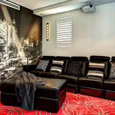 Transitional Home Theater by Splendour interiors