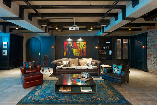 Eclectic Home Theater by Aamir and Hameeda Associates