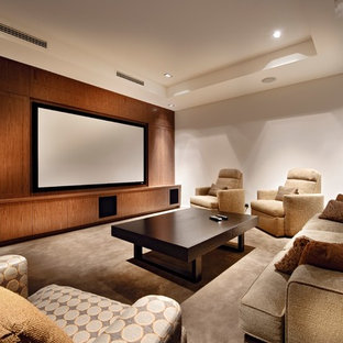 Design ideas for a contemporary enclosed home theatre in Perth with carpet, beige floor, a projector screen and white walls.