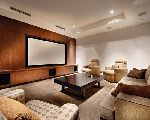 Design Ideas For A Contemporary Enclosed Home Theatre In Perth With Carpet,  Beige Floor,