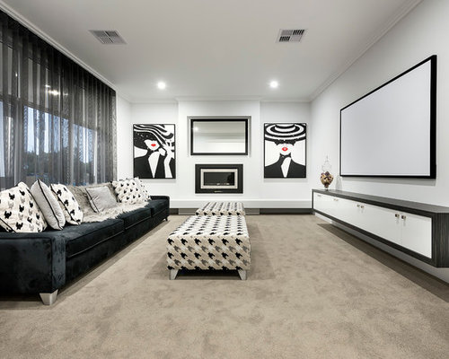 Mid Sized Contemporary Open Concept Home Theatre In Perth With White Walls,  Carpet And