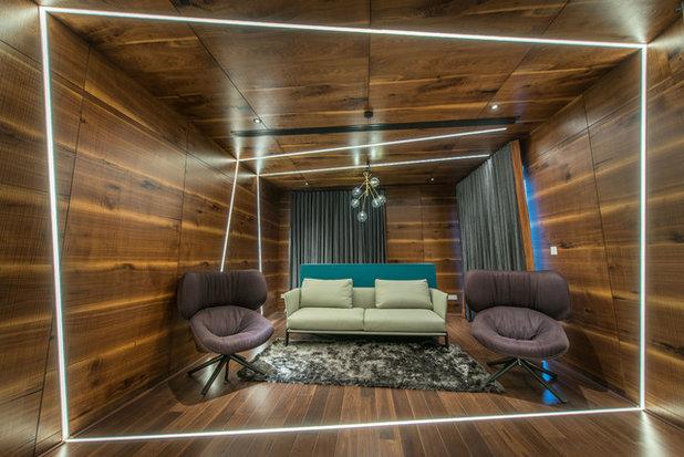 Modern Home Theater by Ricken Desai Photography