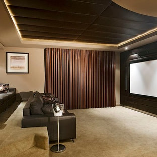 Home theater - transitional beige floor home theater idea in Perth