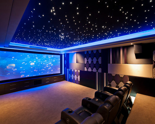 Design Ideas For A Large Contemporary Enclosed Home Theatre In Perth With  Multi Coloured Walls