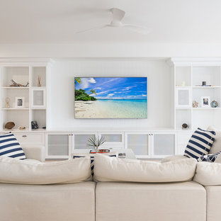 Design ideas for a beach style home theatre in Gold Coast - Tweed.