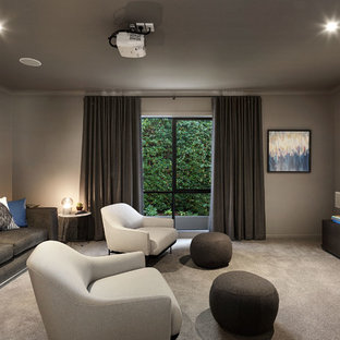 Inspiration for a contemporary home theatre in Melbourne.
