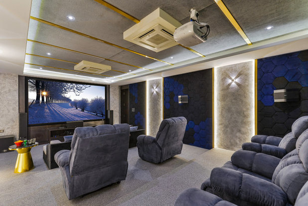 Transitional Home Theater by Pixcelcraft Photography