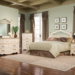 Standard Furniture - Standard Furniture Seville 5 Piece Panel Headboard Bedroom Set - Seville offers a warm blend of soft tones and granite color illustrate the European Country style of this collection. Wood products with simulated wood grain laminates. This group may contain plastic parts. Metal is used for the grills. Drawers offer roller side drawer guides allowing for easy operation. Drawer stops are included for safety. Bail pulls and knobs with simulated pewter color finish. Old fashioned wood color and simulated Jura granite. Surfaces clean easily with a soft cloth.