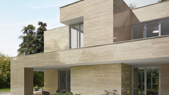Caesar Ceramic - Porcelain Vein Cut Travertine on External Facade