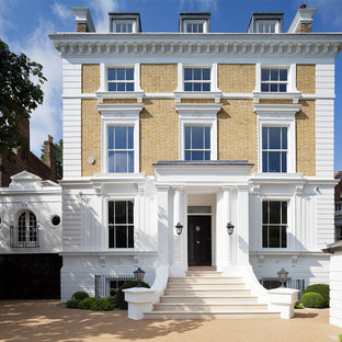 This is an example of a classic brick exterior in London with a flat roof.