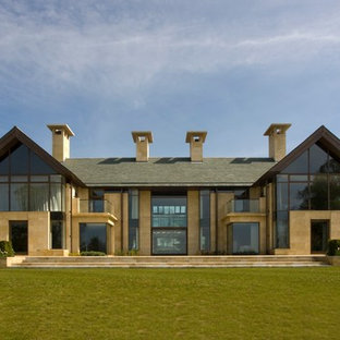 Huge Trendy Two Story Glass Gable Roof Photo In Other