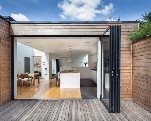 Folding glass doors houzz trendy exterior home photo in london planetlyrics Image collections