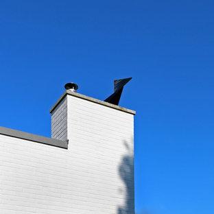 Exemple d'une façade de maison rétro de taille moyenne et à trois étages et plus avec un toit en métal.